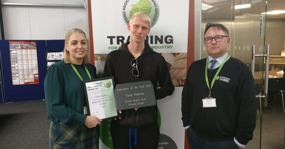 Tyler Pedrick wins Eastern Region Roof Training Group Apprentice of the Year 2019
