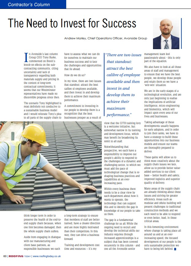 Andrew Morley column in Roofing Today magazine May edition