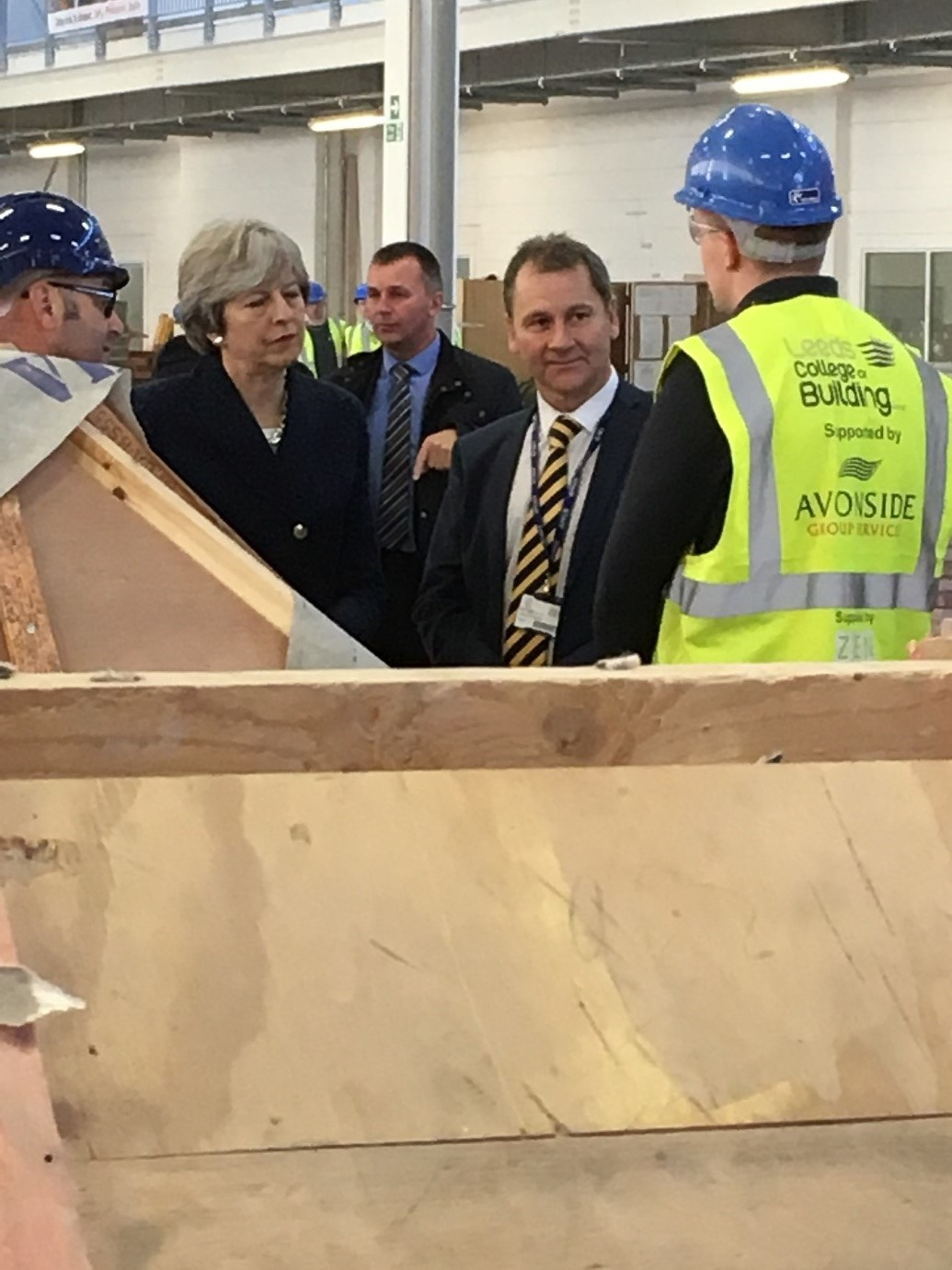 Prime minister Theresa May visits Leeds College of Building