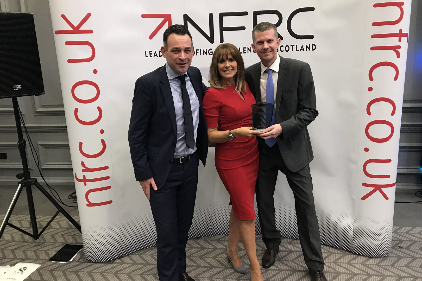 Avonside Area Director Chris McLean, TV Presenter Carole Smillie and Avonside Contracts Manager Marc Bell at Scottish NFRC Roofing Awards 2019