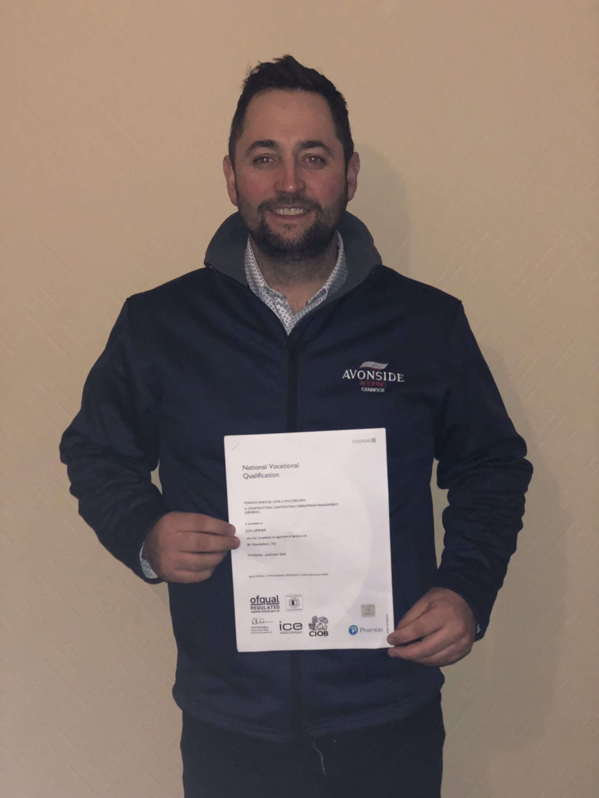 Jon Upsher Avonside Cannock Contracts Manager with his Level 6 Construction Contracting Operations Management NVQ