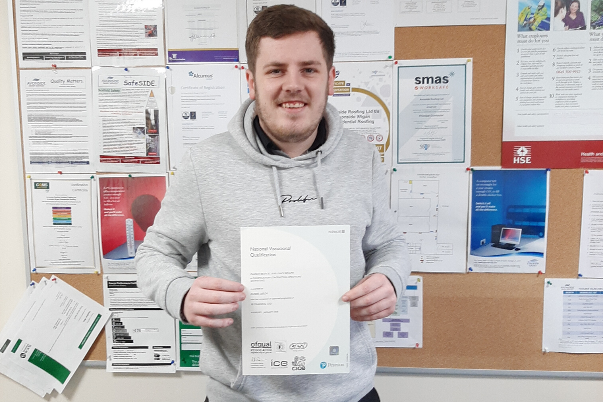 Avonside Wigan's Robbie Leech with his Level 3 NVQ Construction Contracting Operations Certificate