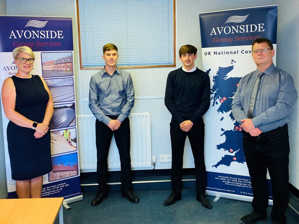 Sarah Burke with Matthew Witherington and William Brash Trainee Estimators and Andrew Spruce